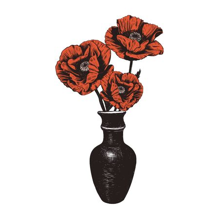 Bouquet of poppies in a clay vase.
