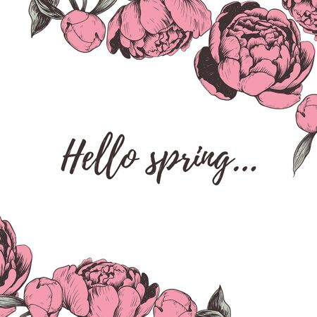 Hello spring lettering Peony vector illustration.