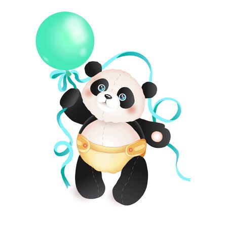Cute panda toddler with a balloon. Ilustrace