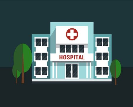 Hospital building vector illustration. Medical concept in flat style.