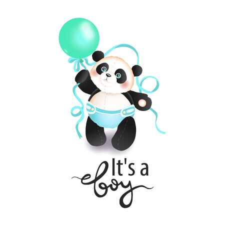 a boy. Cute panda toddler with a balloon