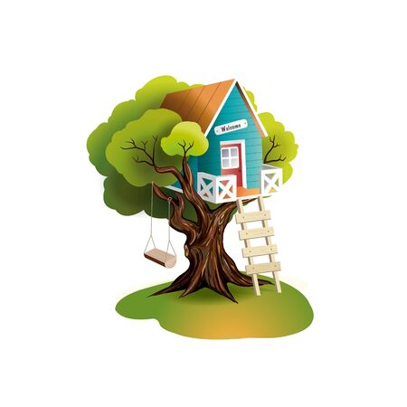 Tree house. Cartoon house. Ilustrace
