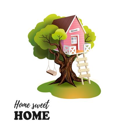 Home sweet home, Pink Tree house Ilustrace