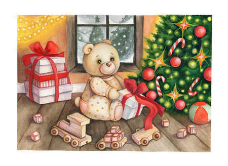 Christmas fairy tale illustration. Teddy bear, gifts and a Christmas tree Reklamní fotografie