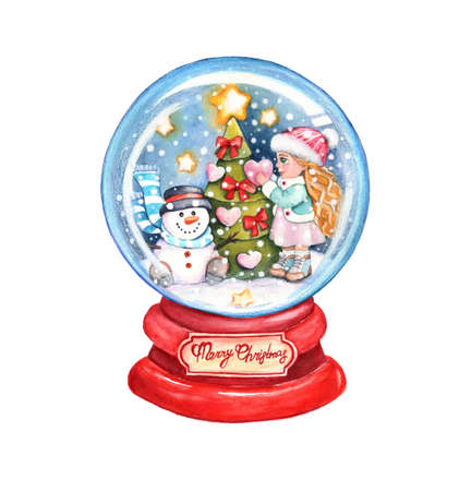 Snow Crystal Ball Christmas. Snowman and girl decorate the Christmas tree.