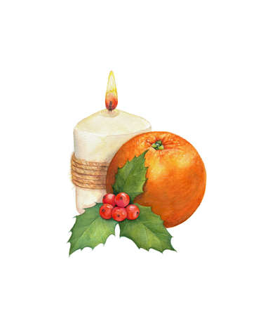 Christmas composition: candle, orange and a sprig of mistletoe.