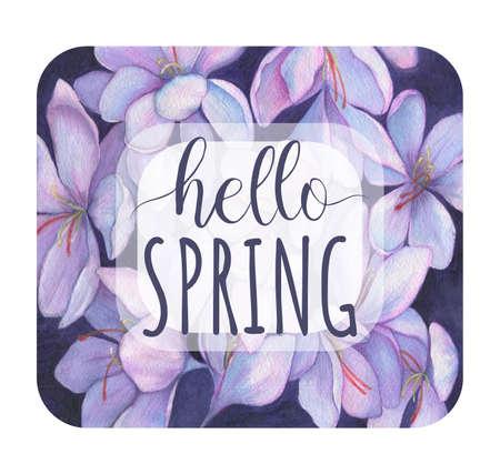 Hello Spring. Spring flowers snowdrops. Purple crocuses Stock fotó