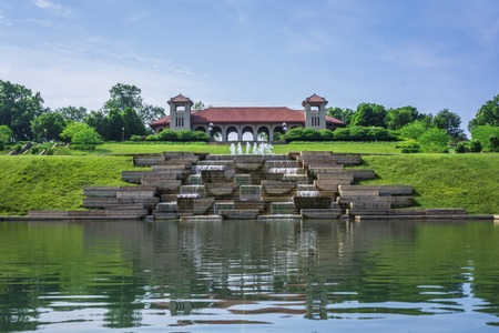 The World's Fair Pavilion on a early summer morning. Designed by English architect Henry Wright, located in Forest Park, Saint Louis, Missouri. Stock Photo