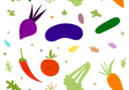 cartoon tomato: Vector seamless pattern consisting of contour icons of fruits and vegetables on a white background