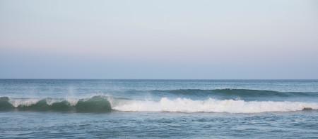 Waves crashing in the ocean.