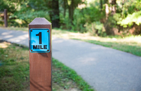 A one mile marker sign post beside a paved pathway with a bright green and sunny background.