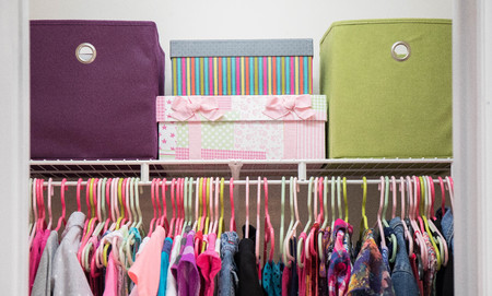 A Young Girlu0027s Closet Neatly Organized With Bins And Boxes. Stock Photo    98979355