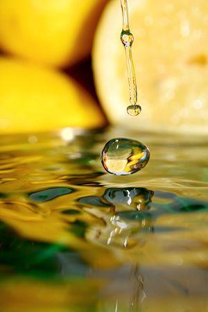 exotic gleam: Splash with fresh lemon. Pure water.  Stock Photo
