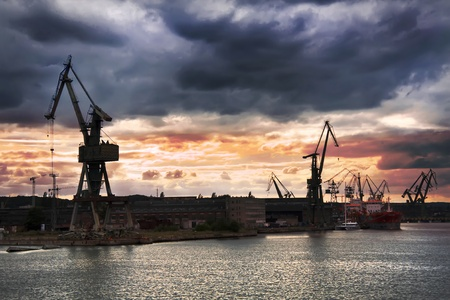 Cargo harbor in Poland - Gdansk - Danzig.  Stock Photo
