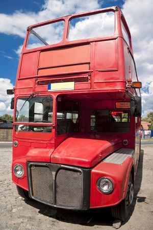 Old fashion red city bus. photo
