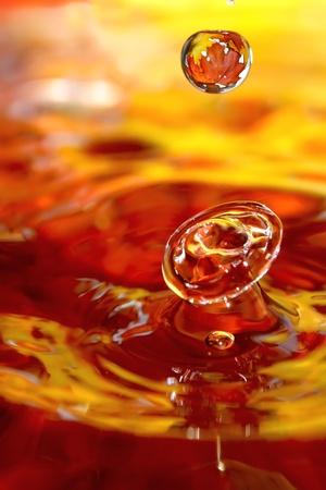 Liquid autumn. Drops of water and orange leafs. photo