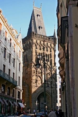 gunpowder: Street of Prague. Gunpowder tower. Czech republic.
