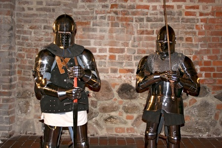swordsmanship: Knights in an old cellar. Royal castle in Warsaw.