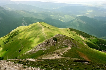 High mountains in the Europe. Landscape with mountain pastures. photo