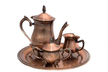Avond met koffie. Koper koffie set. Stockfoto - 11980645