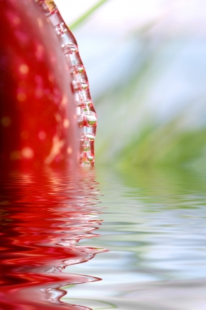 Apple with flowing water against grass photo