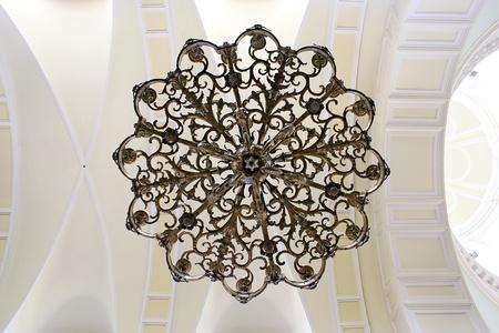 neo gothic: White vault in church  Warsaw in Poland  Stock Photo