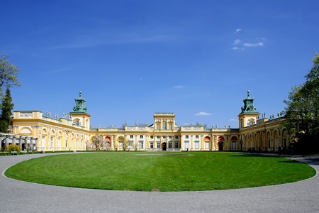 Baroque palace Wilanow in Warsaw. Tourist place in capital of Poland.