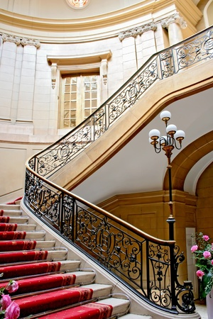 castle interior: Stairwell in a Polish palace  An old architecture