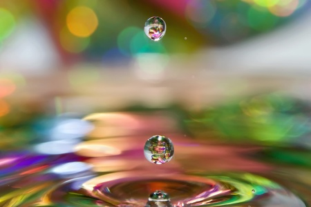 Optimistic rain  Colored drops of water  photo