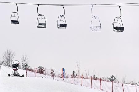 station ski: Ski station - chairlift.