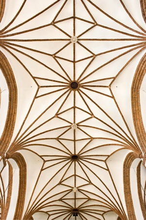 neo gothic: Sights of Poland  Cross-ribbed vault in Gothic cathedral  Warsaw