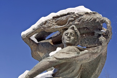 Detail of monument of Frederic Chopin. Park Lazienki in warsaw.