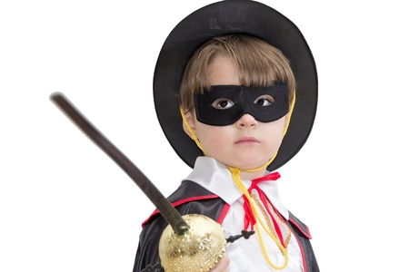 Boy with carnival costume   Little fighting zorro  Stock Photo
