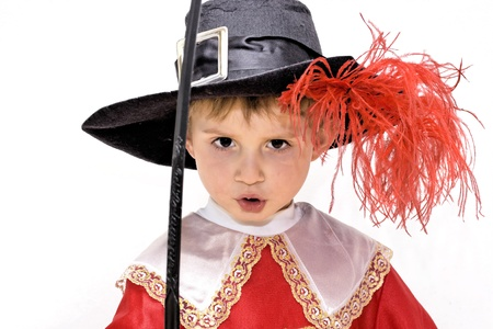 Boy with carnival costume   Little fighting musketeer photo