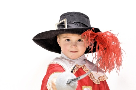 french fancy: Boy with carnival costume   Little fighting musketeer