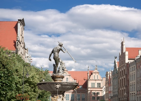 Port city at Baltic sea - Gdansk  Monuments in old town Statue of Neptun