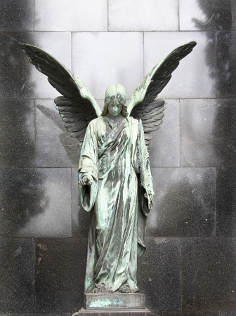 guardian angel: An 19th century antique cemetery in Warsaw  Poland   Stock Photo