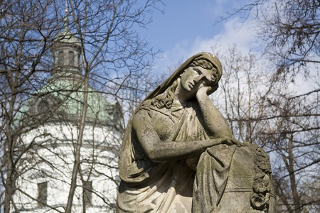 churchyard: An 19th century antique art on cemetery in Warsaw  Poland