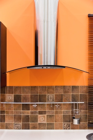Modern kitchen hood - stainless steel finishing  photo
