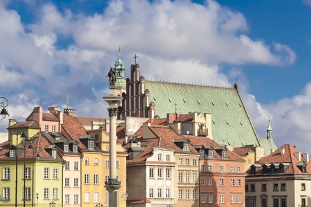 Sights of Poland  Warsaw Castle Square with king Sigismund column and Warsaw Cathedral  Stock Photo - 13576764