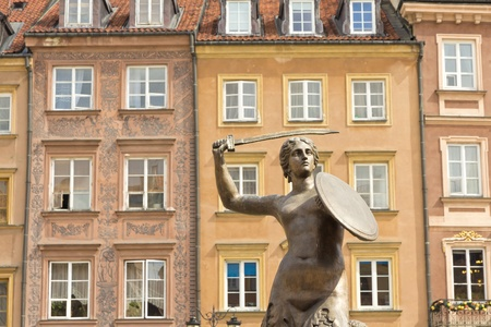 Warsaw Old Town Square and symbol of Warsaw - Mermaid