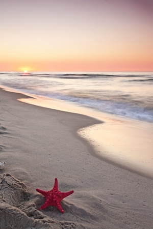 Beautiful sunset at Baltic sea   Stock Photo