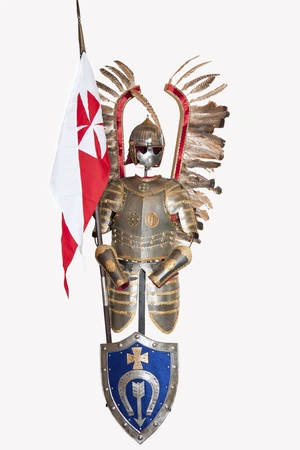Polish winged knight with flag and shield   photo