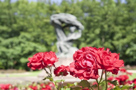 lazienki: Summer park with monument of Chopin - Warsaw, Poland