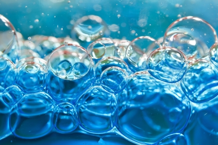 Blue bubbles in clear water