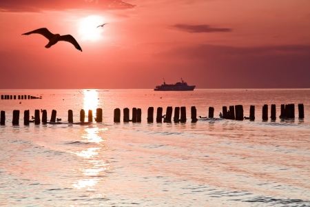 Calmness  Beautiful sunset at Baltic sea, Poland  Stock Photo