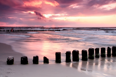 Calmness  Beautiful sunset at Baltic sea, Poland  photo
