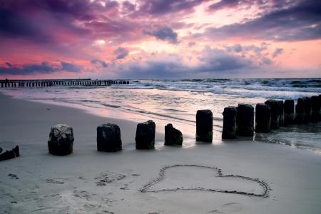 Calmness  Beautiful sunset with symbol of love  Baltic sea, Poland