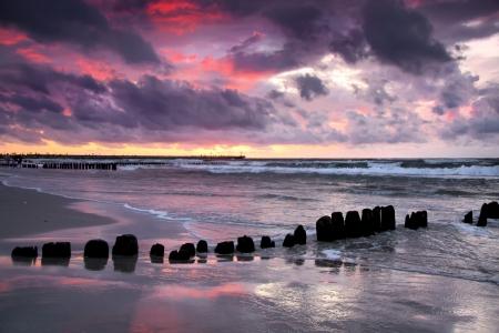 Dark seaside Winter time at Baltic sea, Poland