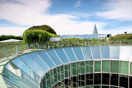 Ecologische modern gebouw van de bibliotheek Universiteit van Warschau Europa Stockfoto